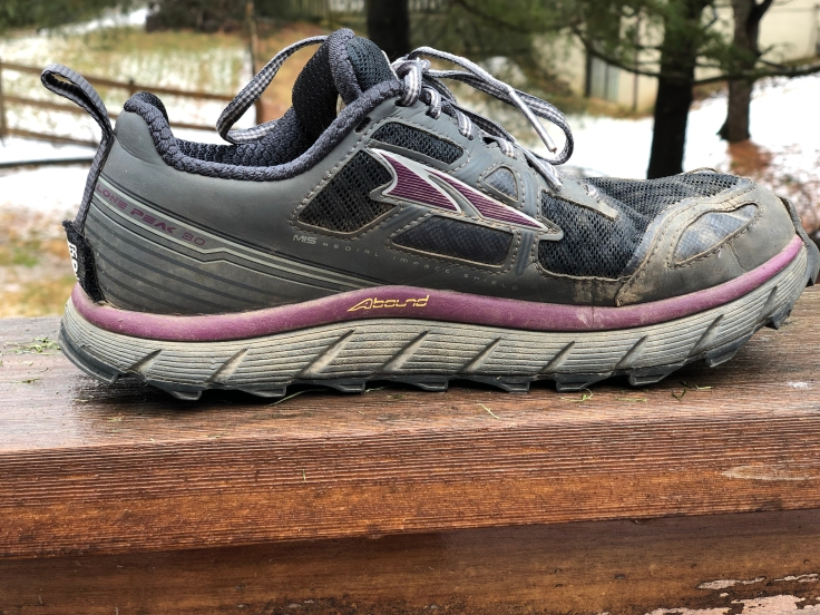 a photo of an altra lone peak shoe