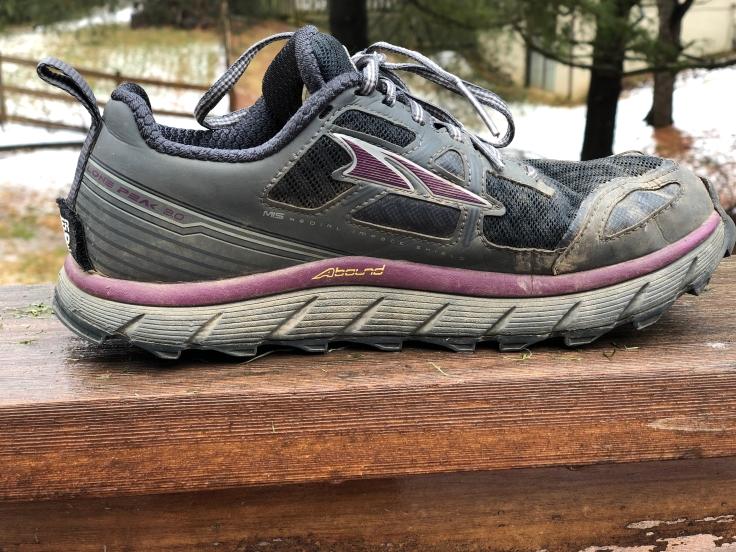 a photo of an altra lone peak shoe